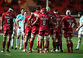 29th September 2017, Parc y Scarlets, Llanelli, Wales; Guinness Pro14 Rugby, Scarlets versus Connacht; Scarlets Forwards gather for a scrum