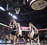 SIOUX FALLS, SD: MARCH 5: Courtney Vacchair #10 of Nebraska Omaha shoots past Abigail Fogg #44 of South Dakota during the Summit League Basketball Championship on March 5, 2017 at the Denny Sanford Premier Center in Sioux Falls, SD. (Photo by Dick Carlson/Inertia)