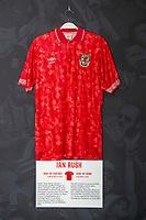 Ian Rush' 1990/92 Wales home shirt is displayed at The Art of the Wales Shirt Exhibition at St Fagans National Museum of History in Cardiff, Wales, UK. Monday 11 November 2019