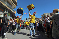 Pictured: A Carnival in the streets of Tirnavos, central Greece. Monday 11 March 2019<br /> Re: Bourani (or Burani) the infamous annual carnival which dates to 1898 which takes place on the day of (Clean Monday), the first days of Lent in Tirnavos, central Greece, in which men hold phallus shaped objects as scepters in their hands.