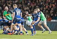 3rd January 2020; AJ Bell Stadium, Salford, Lancashire, England; English Premiership Rugby, Sale Sharks versus Harlequins;  Will Cliff of Sale Sharks box kicks - Editorial Use