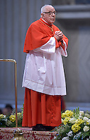 Cardinal Luis Hector Villalba.Pope Francis,during a consistory for the creation of new Cardinals at St. Peter's Basilica in Vatican.February 14, 2015