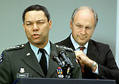 United States Army General Colin Powell, left, makes remarks after being named Chairman of the Joint Chiefs of Staff by US President George H.W. Bush in the Rose Garden of the White House in Washington, DC on August 10, 1989. US Secretary of Defense Dick Cheney looks on from the right.<br /> Credit: Ron Sachs / CNP