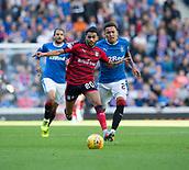 9th September 2017, Ibrox Park, Glasgow, Scotland; Scottish Premier League football, Rangers versus Dundee; Dundee's Faissal El Bakhtaoui races away from Rangers' James Tavernier