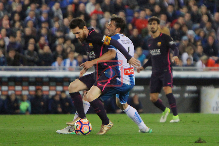 League Santander 2016/2017. Game: 35.<br /> RCD Espanyol vs FC Barcelona: 0-3.<br /> Lionel Messi vs Victor Sanchez.