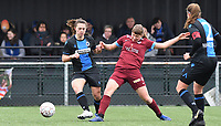 20200208 – BRUGGE, BELGIUM : Genk's Aster Janssens pictured in a duel with Club Brugge's Jody Vangheluwe during a women soccer game between Dames Club Brugge and KRC Genk Ladies on the 15 th matchday of the Belgian Superleague season 2019-2020 , the Belgian women's football  top division , saturday 08 th February 2020 at the Jan Breydelstadium – terrain 4  in Brugge  , Belgium  .  PHOTO SPORTPIX.BE | DAVID CATRY