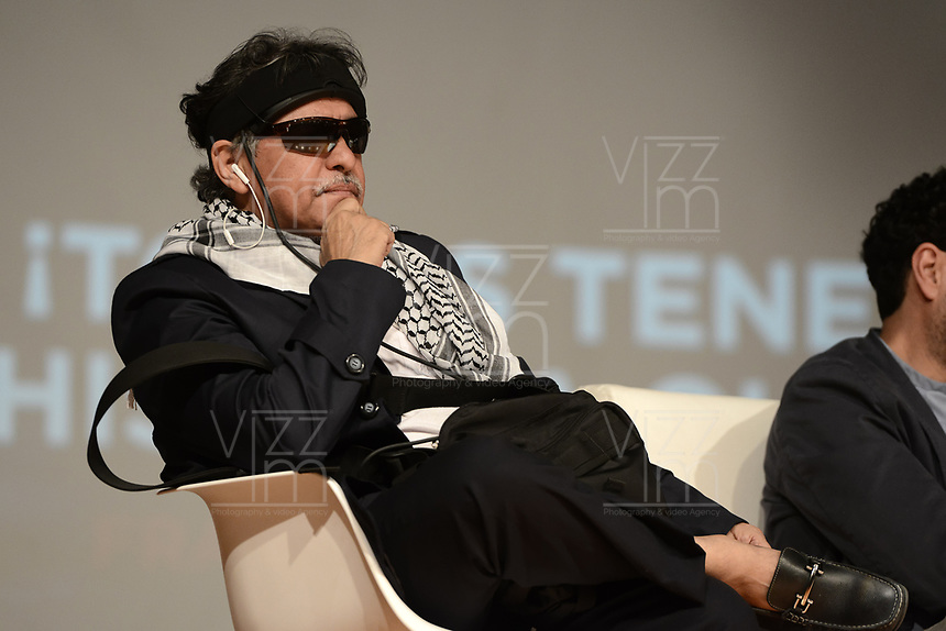 "BOGOTÁ -COLOMBIA. 01-04-2017. Seusis Pausivas Hernandez más conocido como Jesus Santrich miembro del estado mayor de las FARC_EP durante la presentación del libro de Jorge Rojas ""Timochenko, el último guerrillero"" acerca del máximo comandante del desmovilizado grupo guerrillero de izquierda colombiano FARC_EP, Rodrigo Londoño Echeverri más conocico como Timoleon Jimenez (Timochenko o Timochenco). El lanzamiendto se realizó en el marco de la La versión 30 de la Feria Internacional del Libro de Bogotá tiene este año como país invitado de honor a Francia y ofrecerá una programación diversa destinada a todos los públicos de la FILBo y es el evento de promoción de la lectura y la industria editorial más importante en Colombia. / Seusis Pausivas Hernandez most known as Jesus Santrich member of the major state of the left guerrilla of FARC_EP Launch of the book wrote by Jorge Rojas ""Timochenko, el último guerrillero"" about the Maximum leader of the demobilized left guerrilla group FARC_EP, Rodrigo Londoño Echeverri most known under the name Timoleon Jimenez (Timochenko o Timochenco). The launching was held as part of the 30th version of the International Book Fair in Bogota that has this year as a country guest to France and offers a diverse program aimed to all public of FILBo and is the most important event to promote the reading and the editorial industry in Colombia. Photo: VizzorImage/ Gabriel Aponte / Staff"