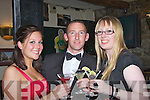 SHAKEN NOT STIRRED: Megan McGrath, Trevor Cooney and Rosalynd Hayes, sipping Cocktails on Friday evening at the Casino Royale night in the Greyhound Bar, Tralee.