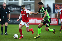 Fleetwood Town's Conor McAleny competes with Plymouth Argyle's Zak Vyner<br /> <br /> Photographer Richard Martin-Roberts/CameraSport<br /> <br /> The EFL Sky Bet League One - Fleetwood Town v Plymouth Argyle - Saturday 10th March 2018 - Highbury Stadium - Fleetwood<br /> <br /> World Copyright &not;&copy; 2018 CameraSport. All rights reserved. 43 Linden Ave. Countesthorpe. Leicester. England. LE8 5PG - Tel: +44 (0) 116 277 4147 - admin@camerasport.com - www.camerasport.com