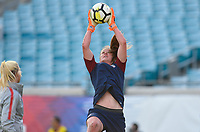 Jacksonville, FL - Thursday April 5, 2018: Alyssa Naeher during an International friendly match versus the women's National teams of the United States (USA) and Mexico (MEX) at EverBank Field.