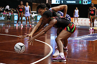24.02.2018 Malawi's Bridget Kumwenda and Fiji's Lusiani Rokoura in action during the Malawi v Fiji Taini Jamison Trophy netball match at the North Shore Events Centre in Auckland. Mandatory Photo Credit ©Michael Bradley.