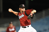 Nashville Sounds pitcher Michael Blazek (34) delivers a pitch during the second game of a double header against the Omaha Storm Chasers on May 21, 2014 at Herschel Greer Stadium in Nashville, Tennessee.  Nashville defeated Omaha 13-4.  (Mike Janes/Four Seam Images)
