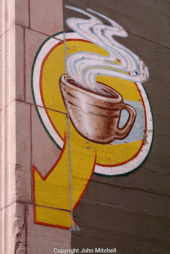 Coffee cup painted on the  wall of a building in Bellingham, Washington, USA....