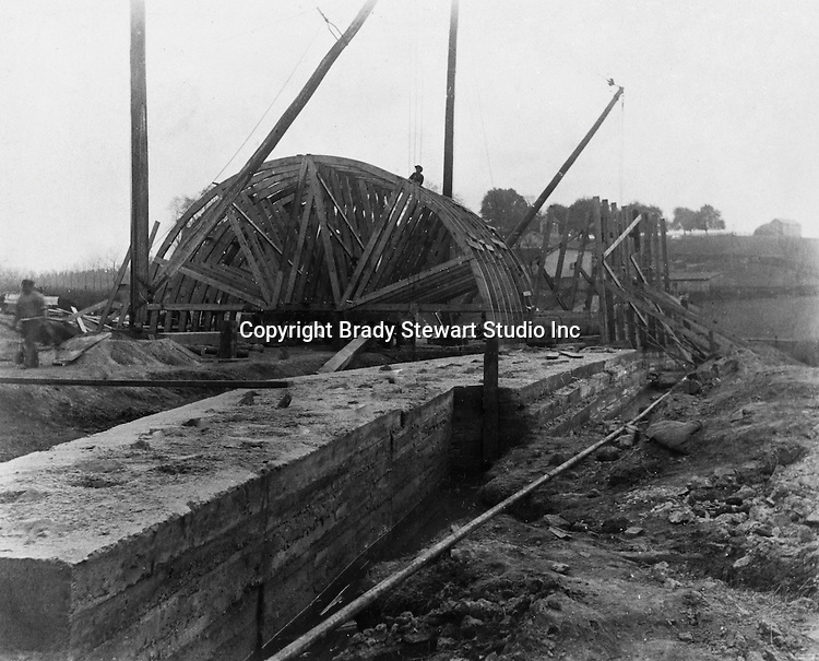 Hopedale OH:  Construction of a concrete arch for the Spellacy Tunnel - 1903.  The Pittsburgh, Toledo and Western Railroad company, owned by the famous George J. Gould,  hired Brady Stewart to document the track and tunnel construction between Hopedale Ohio and downtown Pittsburgh.