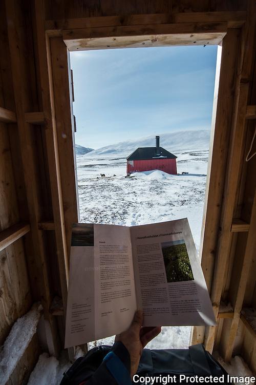 Utsikt fra utedoen på Bjørnskardhytta. ---- Bjørnskardhytta on Varangerhalvøya.
