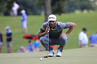 Dustin Johnson (USA) lines up his putt on the 15th green during Saturday's Round 3 of the 2017 PGA Championship held at Quail Hollow Golf Club, Charlotte, North Carolina, USA. 12th August 2017.<br /> Picture: Eoin Clarke | Golffile<br /> <br /> <br /> All photos usage must carry mandatory copyright credit (&copy; Golffile | Eoin Clarke)