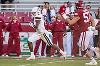 NWA Democrat-Gazette/BEN GOFF @NWABENGOFF<br /> Marcus Murphy, Mississippi State free safety, returns an interception for a touchdown in the second quarter vs Arkansas Saturday, Nov. 2, 2019, at Reynolds Razorback Stadium in Fayetteville.