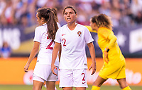 PHILADELPHIA, PA - AUGUST 29: Monica Mendes #2 of Portugal yells at the referee during a game between Portugal and the USWNT at Lincoln Financial Field on August 29, 2019 in Philadelphia, PA.