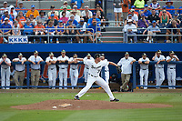 Wake Forest Demon Deacons relief pitcher Chris Farish (32) in action against the Florida Gators in Game Two of the Gainesville Super Regional of the 2017 College World Series at Alfred McKethan Stadium at Perry Field on June 11, 2017 in Gainesville, Florida.  (Brian Westerholt/Four Seam Images)