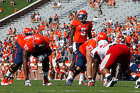 Virginia quarterback David Watford (5) Ball State defeated Virginia 48-27 during an NCAA football game Saturday Oct. 5, 2013 at Scott Stadium in Charlottesville, VA. Photo/Andrew Shurtleff