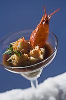 Europe/France/73/Savoie/Val d'Isère: Risotto crémeux aux queues d'écrevisses marinées à la menthe, réduction de mondeuse Recette de Jérome Labrousse du restaurant: La Table des  Neiges à l'Hôtel Tsanteleina