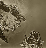 historical aerial photograph of the Raccoon Straight, Tiburon and Angel Island, Marin County, California, 1958
