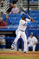 Dunedin Blue Jays right fielder Joshua Palacios (7) at bat during a game against the Fort Myers Miracle on April 17, 2018 at Dunedin Stadium in Dunedin, Florida.  Dunedin defeated Fort Myers 5-2.  (Mike Janes/Four Seam Images)