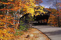 Covered bridge in autumn.