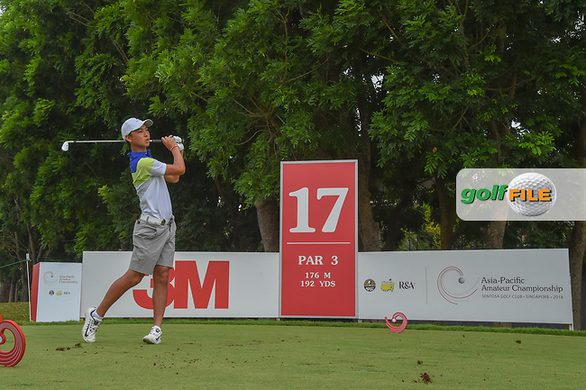 Min Woo LEE (AUS) watches his tee shot on 17 during Rd 3 of the Asia-Pacific Amateur Championship, Sentosa Golf Club, Singapore. 10/6/2018.<br /> Picture: Golffile   Ken Murray<br /> <br /> <br /> All photo usage must carry mandatory copyright credit (© Golffile   Ken Murray)