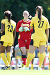 30 August 2013: Kennesaw State's Olivia Sturdivant (in red). The Duke University Blue Devils played the Kennesaw State University Owls at Fetzer Field in Chapel Hill, NC in a 2013 NCAA Division I Women's Soccer match. Duke won 1-0.