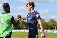 Peter Lydon of London Scottish (right) celebrates after he scores a try during the Greene King IPA Championship match between London Scottish Football Club and Nottingham Rugby at Richmond Athletic Ground, Richmond, United Kingdom on 15 April 2017. Photo by David Horn.