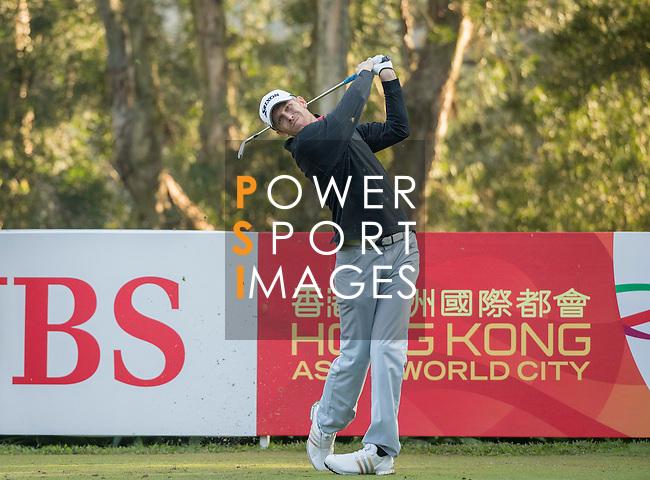 Brett Munson of USA tees off during the 58th UBS Hong Kong Open as part of the European Tour on 08 December 2016, at the Hong Kong Golf Club, Fanling, Hong Kong, China. Photo by Vivek Prakash / Power Sport Images