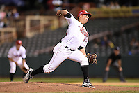 Tri-City ValleyCats pitcher Raul Rivera (20) delivers a pitch during a game against the Batavia Muckdogs on August 2, 2014 at Joseph L. Bruno Stadium in Troy, New  York.  Tri-City defeated Batavia 8-4.  (Mike Janes/Four Seam Images)