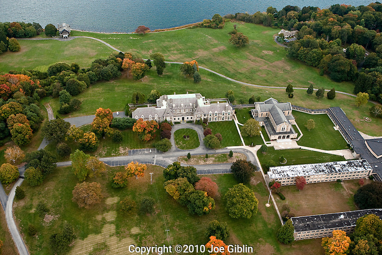 An aerial view of the Former Governor Aldrich mansion on Wawrick Neck in Warwick, R.I.  The estate, which has served as a Catholic seminary, high school and retreat, was used as a smuggling point for alcoholic beverages during prohibition and is laced with underground tunnels onnecting allthe buildings.  Aerial images of RI/Narragansett Bay