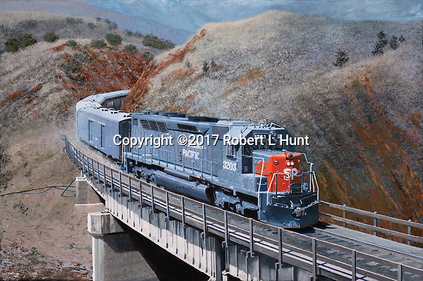 The westbound Southern Pacific San Joaquin Daylight passenger train crosses Tehachapi Creek just below the famous Loop on the way down into Bakersfield, coasting downhill with a little bit of brake smoke trailing behind. Oil on canvas, 18x27.