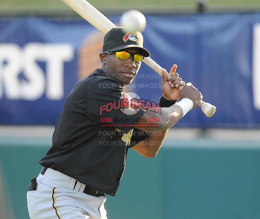 Infielder Adenson Chourio (5) of the West Virginia Power, Class A affiliate of the Pittsburgh Pirates, at a game against the Greenville Drive April 29, 2010, at Fluor Field at the West End in Greenville, S.C. Photo by: Tom Priddy/Four Seam Images