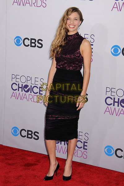 Tracy Spiridakos.People's Choice Awards 2013 - Arrivals held at Nokia Theatre L.A. Live, Los Angeles, California, USA..January 9th, 2013.full length dress skirt lace purple sleeveless black skirt.CAP/ADM/BP.©Byron Purvis/AdMedia/Capital Pictures.