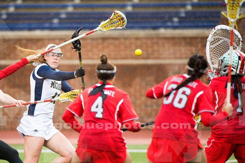 The University of Michigan women's lacrosse team falls to Ohio State, 10-9, at Michigan Stadium in Ann Arbor, MI on April 2, 2016.