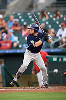 Charlotte Stone Crabs catcher Brett Sullivan (8) at bat during a game against the Palm Beach Cardinals on July 22, 2017 at Roger Dean Stadium in Palm Beach, Florida.  Charlotte defeated Palm Beach 5-2.  (Mike Janes/Four Seam Images)