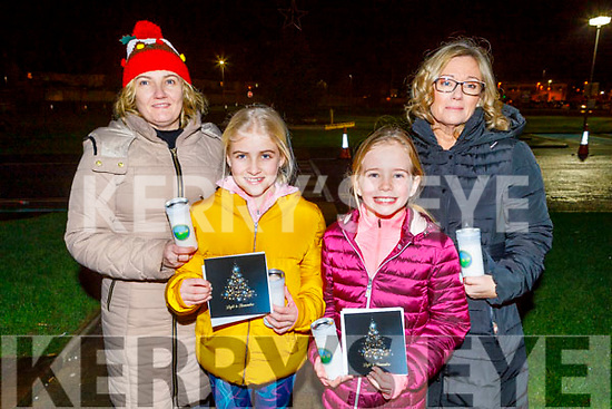 Joanne Stack (Ballyheigue), Caitlin Mahoney, Megan and Martina Gaynor from Tralee at the Lighting of the Light to Remember Tree service in UHK on Saturday evening