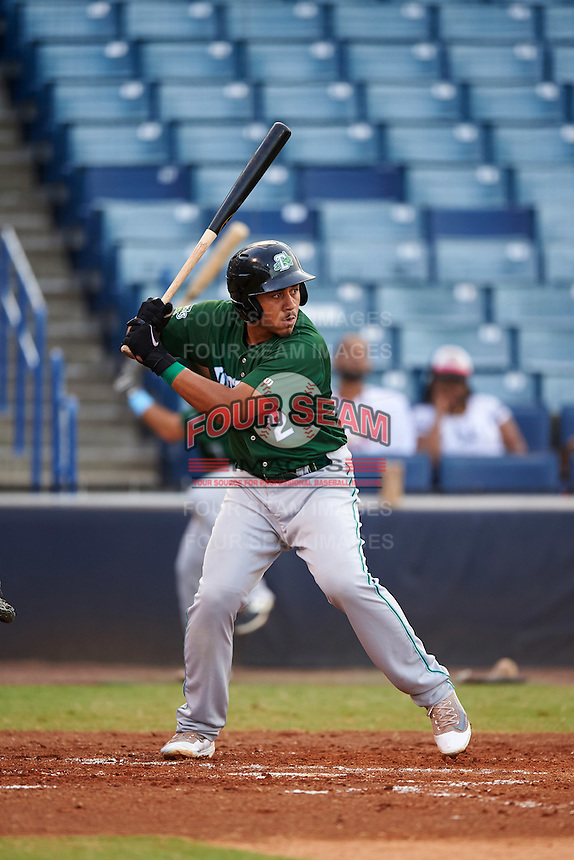 Daytona Tortugas first baseman Avain Rachal (2) at bat during a game against the Tampa Yankees on August 5, 2016 at George M. Steinbrenner Field in Tampa, Florida.  Tampa defeated Daytona 7-1.  (Mike Janes/Four Seam Images)