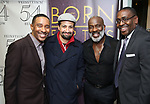 "Charles Randolph-Wright, Lin-Manuel Miranda, BeBe Winans and Ron Gillyard backstage after a Song preview performance of the Bebe Winans Broadway Bound Musical ""Born For This"" at Feinstein's 54 Below on November 5, 2018 in New York City."