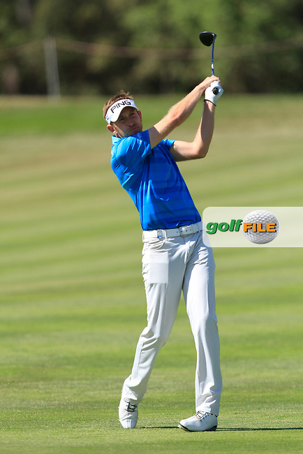 James Palmer (ENG) on the 18th fairway during Round 3 of the Open de Espana  in Club de Golf el Prat, Barcelona on Saturday 16th May 2015.<br /> Picture:  Thos Caffrey / www.golffile.ie