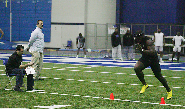 UK men's football players get timed on the forty-yard-dash at the Nutter Field House on Wednesday, March 10, 2010. Photo by Britney McIntosh | Staff
