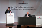 President of Catalonia Carles Puigdemont and vice president Oriol Junqueras attends to conference at Madrid Town Hall, May 22, 2017. Spain.<br /> (ALTERPHOTOS/BorjaB.Hojas)