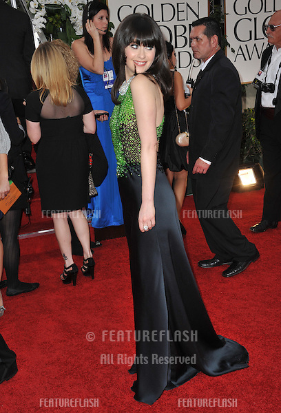 Zooey Deschanel at the 69th Golden Globe Awards at the Beverly Hilton Hotel..January 15, 2012  Beverly Hills, CA.Picture: Paul Smith / Featureflash