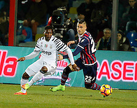 Kwadwo Asamoah  and Aleandro Rosi  during the  italian serie a soccer match,between Crotone and Juventus      at  the Scida   stadium in Crotone  Italy , February 08, 2017