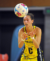 Elias Shadrock passes during the ANZ Netball Championship match between the Central Pulse and Mainland Tactix at Te Rauparaha Arena, Wellington, New Zealand on Saturday, 11 May 2015. Photo: Dave Lintott / lintottphoto.co.nz