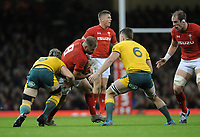 Wales' Ross Moriarty is tackled by Australia's David Pocock<br /> <br /> Photographer Ian Cook/CameraSport<br /> <br /> Under Armour Series Autumn Internationals - Wales v Australia - Saturday 10th November 2018 - Principality Stadium - Cardiff<br /> <br /> World Copyright © 2018 CameraSport. All rights reserved. 43 Linden Ave. Countesthorpe. Leicester. England. LE8 5PG - Tel: +44 (0) 116 277 4147 - admin@camerasport.com - www.camerasport.com