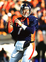 Denver Bronco Quarterback John Elway #7 inaction.